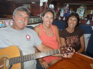 Musically talented cruising amigos aboard Sailors Run at Don Juan Anchorage.