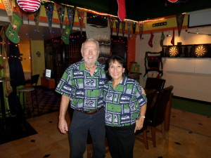 "Debbie and I in the shirts Debbie made for supporting our team the ""Sea Hawks"