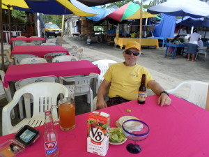 Jeff enjoying his beers,  sand,sun & just hanging out at our favorite palapa La Jaiba