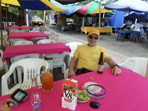 Jeff enjoying his beers,  sand,sun & just hanging out at our favorite palapa La Jaiba