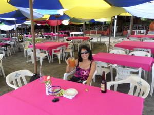 At her favorite palapa La Jaiba on the beach at La Boquita/santiago