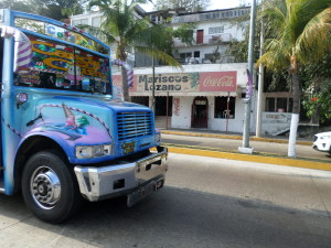 The buse's in Acapulco are painted up with kid's cartoon characters' really beautifully done, Were pretty sure the driver can see out!