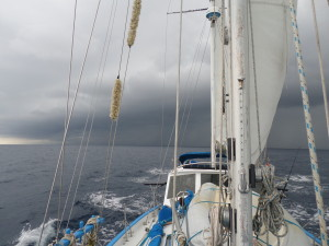 SAILORS RUN JUST BEFORE BEING OVERTAKEN BY A HUGE SQUALL AND 180' WIND SHIFT