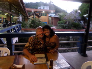 THE CAPTAIN AND HIS MATE ENJOYING MY BIRTHDAY NIGHT OUT AT PUERTO AMISTAD,ECUADOR