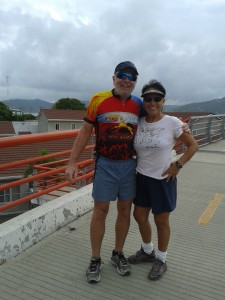 JEFF AND DEB ON THE BRIDGE OF THE RIO CHONE
