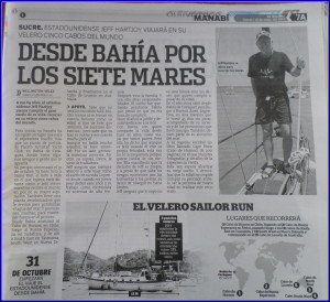 Jeff's Newspaper Article of Going Around the World in El Diario out of Bahia Caraquez,Ecuador