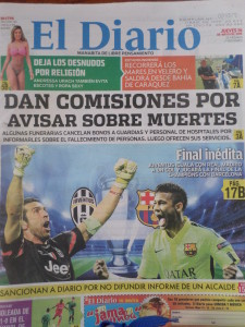 EL DIARIO NEWSPAPER FRONT COVER WITH JEFF ON THE RIGHT HAND CORNER OUT OF BAHIA CARAQUEZ,ECUADOR
