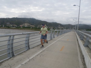 Jeff training on the bridge that runs from Bahia to San Vincente over the Rio Chone River