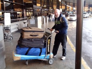 With my new sails and items getting ready to board the plane,altho 3rd luggage was $150-wow!