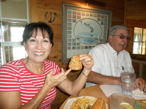 "Debbie trying out the famous ""Rocky Mountain Oyster's"" at John & Dee's place Boss Hoggs Restaurant & Saloon in Pagosa Springs,Colo"