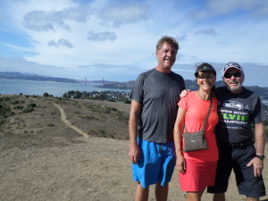 Longtime friends Bruce,Pascale hiking w/Golden Gate Bridge in the background