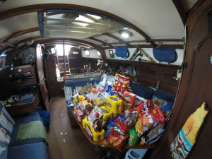 Looking at inside of boat towards back,oh yea more food on table