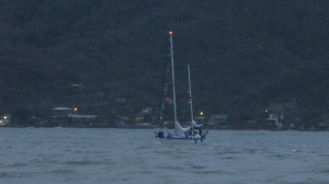 Sailors Run & Jeff motoring on the Rio Chone,having left Puerto Amistad Yacht Club in Bahia Caraquez