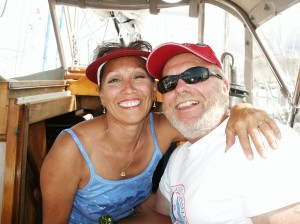 Having a great time together on our boat