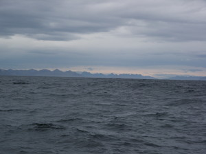 Chilean mountains as Jeff sails by Cape Horn
