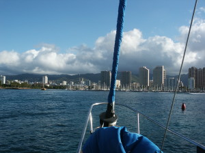 One of the times we Sailed into Oahu,Hawaii