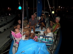 A picture showing how many friends we have to get on the bow of the boat having a great time