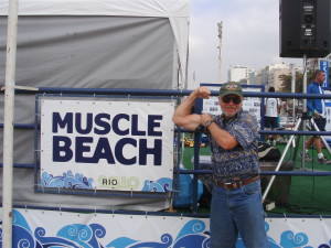 At Copacabana Beach in Rio De Janeiro Jeff is gonna need all his muscles on this trip