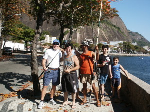 Jeff with local portuguese fishermen on the street of Rio de Janeiro,Brazil