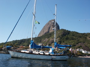 Sailors Run anchored by Sugar Loaf Mountain in Rio de Janeiro,Brazil