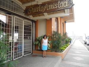 Debbie in front of Puerto Amistad,Bahia Caraquez, Ecuador
