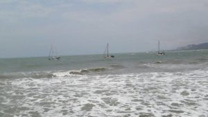 THE 3 BOATS GOING OVER THE BAR HEADING OUT -SAILORS RUN, EVA MARIE &  MOODY 40