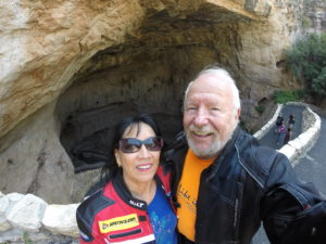Deb & I at Carlsbad caverns wearing our bike gear